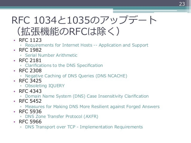 23RFC 1034と1035のアップデート(拡張機能のRFCは除く)• RFC 1123  ▫ Requirements for Internet Hosts -‐‑‒-‐‑‒ Application and Suppo...