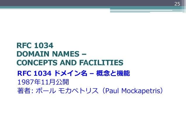 25RFC 1034 ドメイン名 – 概念念と機能1987年年11⽉月公開著者: ポール モカペトリス(Paul Mockapetris)