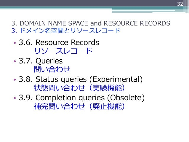 323. DOMAIN NAME SPACE and RESOURCE RECORDS3. ドメイン名空間とリソースレコード• 3.6. Resource Records         リソースレコード• 3...