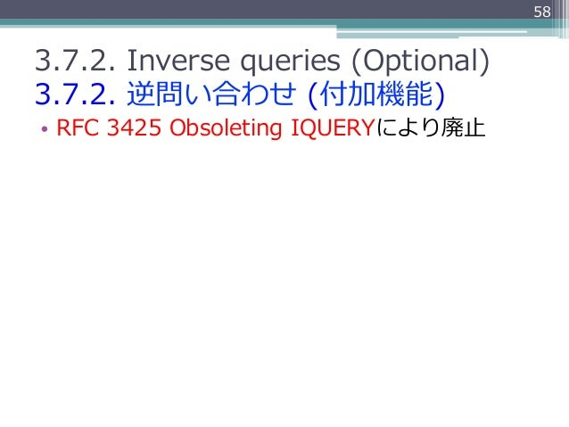 583.7.2. Inverse queries (Optional)3.7.2. 逆問い合わせ (付加機能)• RFC 3425 Obsoleting IQUERYにより廃⽌止
