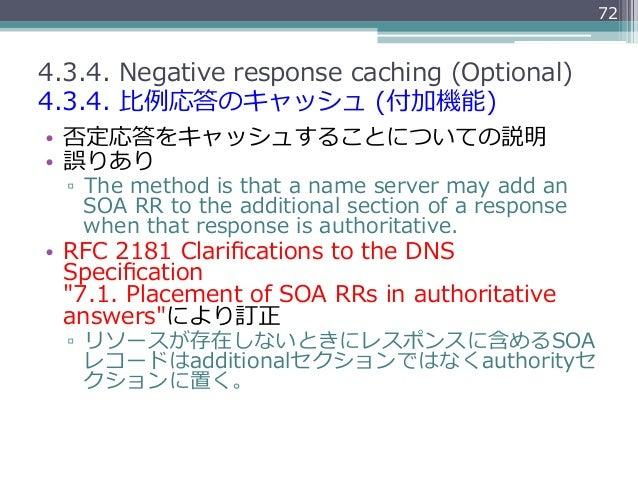 724.3.4. Negative response caching (Optional)4.3.4. ⽐比例例応答のキャッシュ (付加機能)• 否定応答をキャッシュすることについての説明• 誤りあり  ▫ The meth...