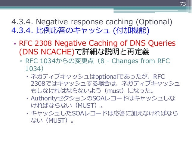 734.3.4. Negative response caching (Optional)4.3.4. ⽐比例例応答のキャッシュ (付加機能)• RFC 2308 Negative Caching of DNS Que...