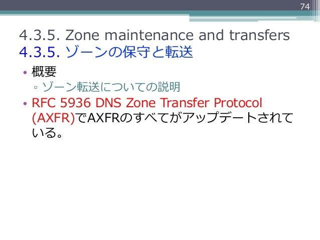 744.3.5. Zone maintenance and transfers4.3.5. ゾーンの保守と転送• 概要  ▫ ゾーン転送についての説明• RFC 5936 DNS Zone Transfer Proto...