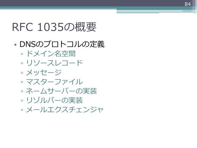 84RFC 1035の概要• DNSのプロトコルの定義 ▫ ドメイン名空間 ▫ リソースレコード ▫ メッセージ ▫ マスターファイル ▫ ネームサーバーの実装 ▫ リゾルバーの実装 ▫ メールエクスチェンジャ