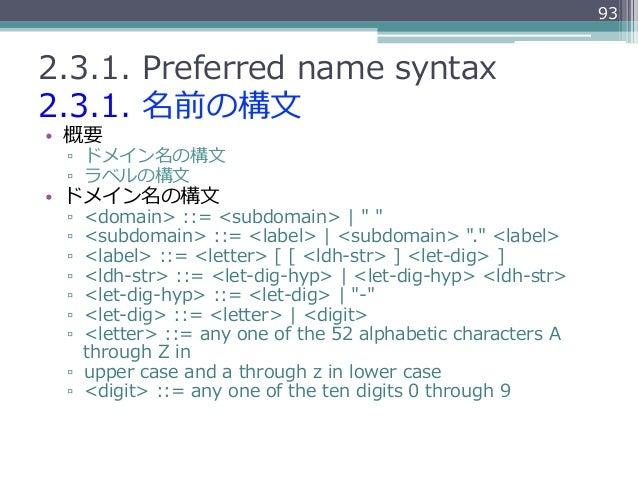 932.3.1. Preferred name syntax2.3.1. 名前の構⽂文• 概要 ▫ ドメイン名の構⽂文 ▫ ラベルの構⽂文• ドメイン名の構⽂文 ▫ <domain> ::= <subdomain>   ...