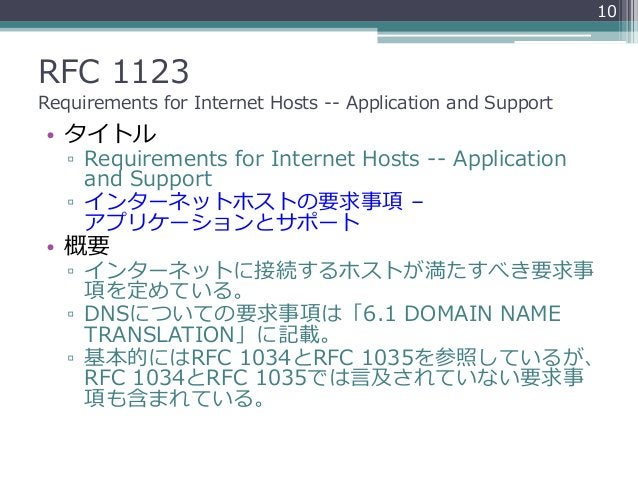 RFC 1123 Requirements for Internet Hosts -- Application and Support • タイトル ▫ Requirements for Internet Hosts -- Applicatio...