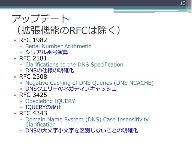 アップデート (拡張機能のRFCは除く) • RFC 1982 ▫ Serial Number Arithmetic ▫ シリアル番号演算 • RFC 2181 ▫ Clarifications to the DNS Specification...
