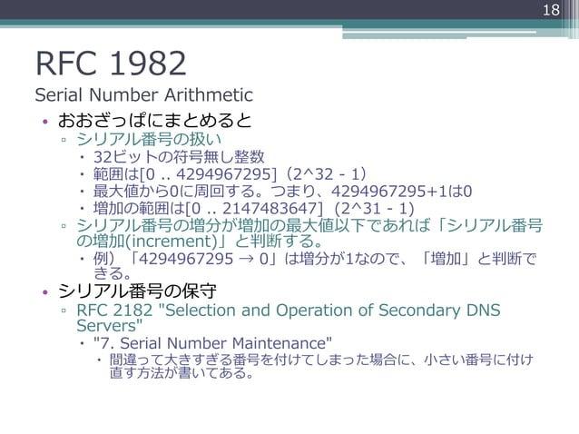 RFC 1982 Serial Number Arithmetic • おおざっぱにまとめると ▫ シリアル番号の扱い  32ビットの符号無し整数  範囲は[0 .. 4294967295](2^32 - 1)  最大値から0に周回する。...