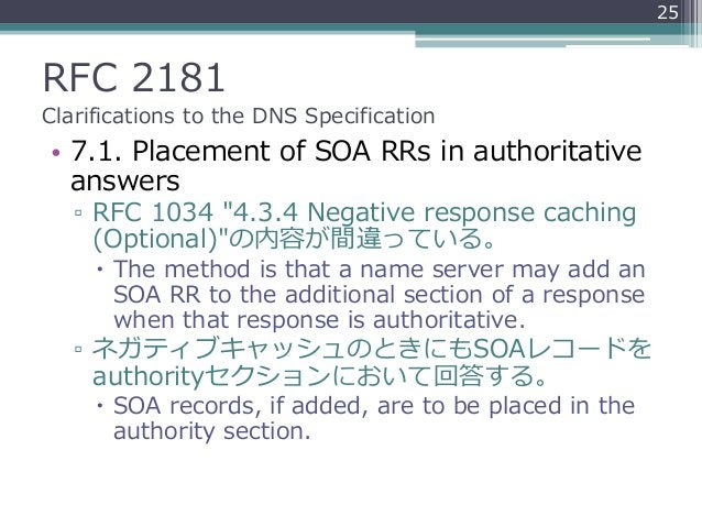 """RFC 2181 Clarifications to the DNS Specification • 7.1. Placement of SOA RRs in authoritative answers ▫ RFC 1034 """"4.3.4 Ne..."""