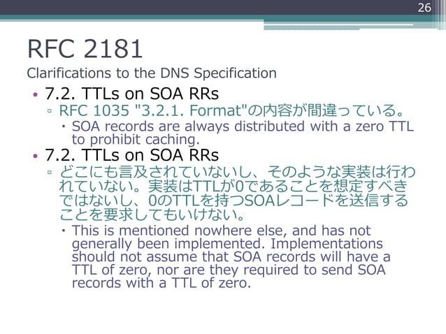 "RFC 2181 Clarifications to the DNS Specification • 7.2. TTLs on SOA RRs ▫ RFC 1035 ""3.2.1. Format""の内容が間違っている。  SOA record..."