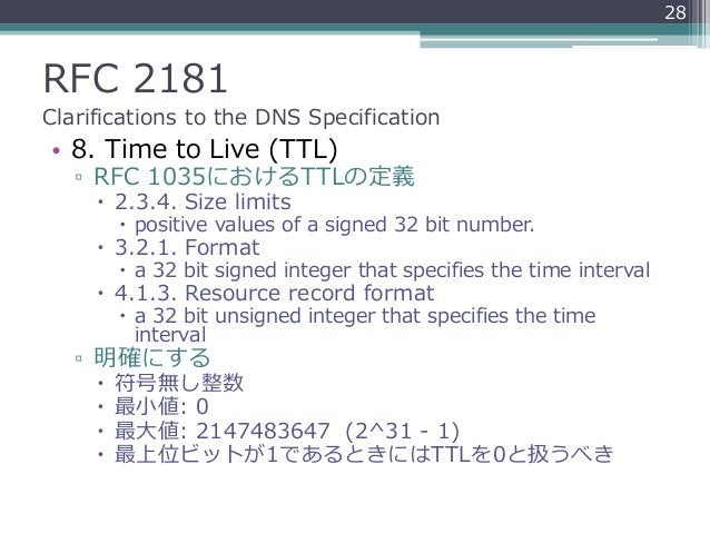 RFC 2181 Clarifications to the DNS Specification • 8. Time to Live (TTL) ▫ RFC 1035におけるTTLの定義  2.3.4. Size limits  posit...