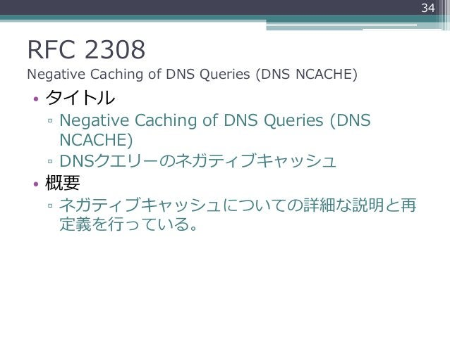 RFC 2308 Negative Caching of DNS Queries (DNS NCACHE) • タイトル ▫ Negative Caching of DNS Queries (DNS NCACHE) ▫ DNSクエリーのネガティ...
