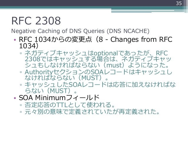 RFC 2308 Negative Caching of DNS Queries (DNS NCACHE) • RFC 1034からの変更点(8 - Changes from RFC 1034) ▫ ネガティブキャッシュはoptionalであっ...