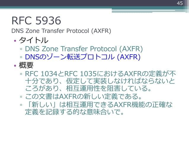 RFC 5936 DNS Zone Transfer Protocol (AXFR) • タイトル ▫ DNS Zone Transfer Protocol (AXFR) ▫ DNSのゾーン転送プロトコル (AXFR) • 概要 ▫ RFC 1...