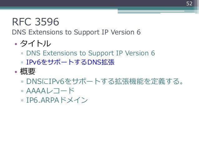 RFC 3596 DNS Extensions to Support IP Version 6 • タイトル ▫ DNS Extensions to Support IP Version 6 ▫ IPv6をサポートするDNS拡張 • 概要 ▫ ...