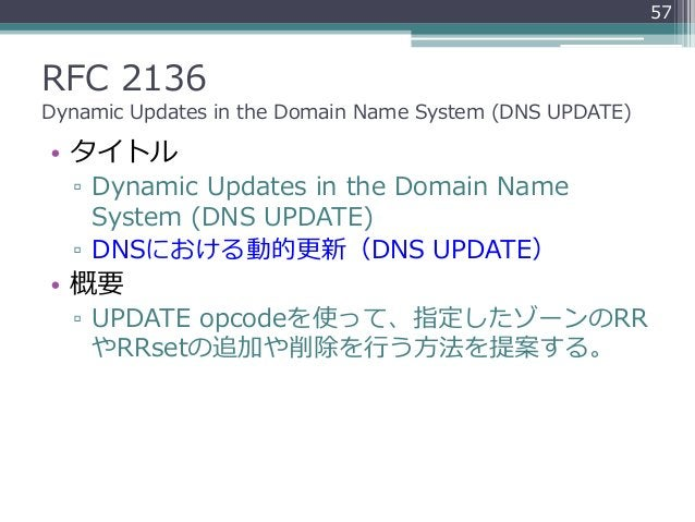 RFC 2136 Dynamic Updates in the Domain Name System (DNS UPDATE) • タイトル ▫ Dynamic Updates in the Domain Name System (DNS UP...