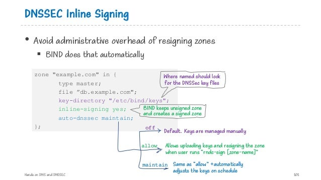DNSSEC Inline Signing • Avoid administrative overhead of resigning zones § BIND does that automatically Hands on DNS and D...