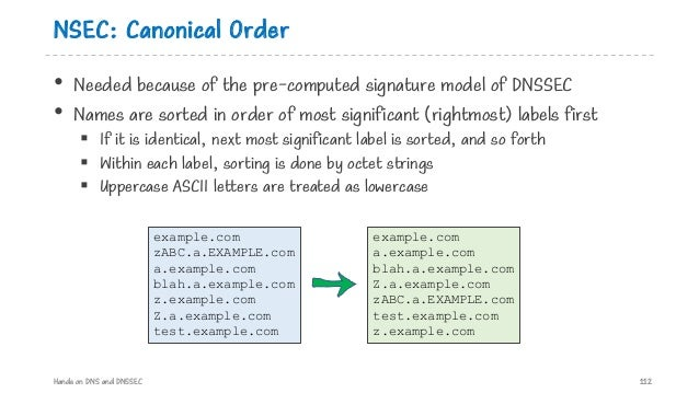 NSEC: Canonical Order • Needed because of the pre-computed signature model of DNSSEC • Names are sorted in order of most s...