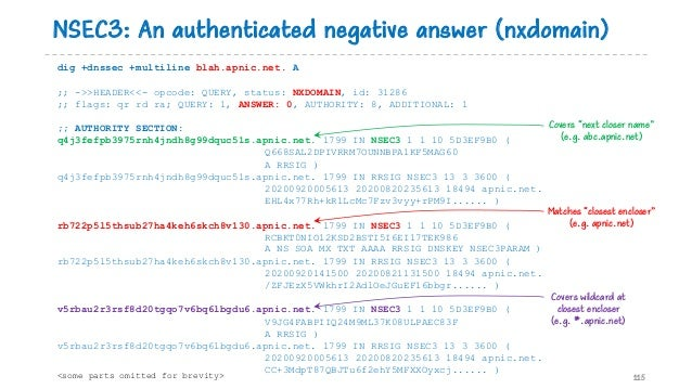 NSEC3: An authenticated negative answer (nxdomain) 115 dig +dnssec +multiline blah.apnic.net. A ;; ->>HEADER<<- opcode: QU...