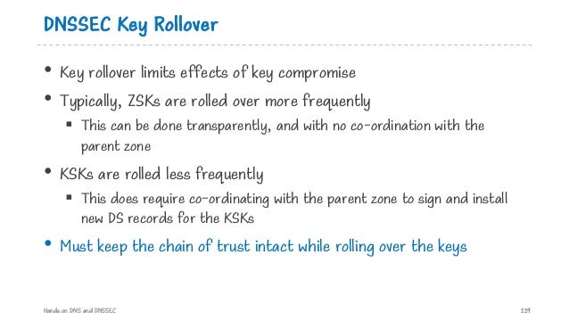 DNSSEC Key Rollover • Key rollover limits effects of key compromise • Typically, ZSKs are rolled over more frequently § Th...