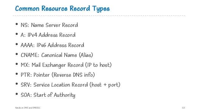 Common Resource Record Types • NS: Name Server Record • A: IPv4 Address Record • AAAA: IPv6 Address Record • CNAME: Canoni...