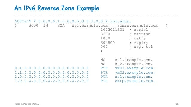 An IPv6 Reverse Zone Example Hands on DNS and DNSSEC 18 $ORIGIN 2.0.0.0.8.1.c.0.8.b.d.0.1.0.0.2.ip6.arpa. @ 3600 IN SOA ns...