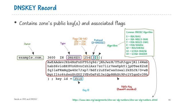 DNSKEY Record • Contains zone's public key(s) and associated flags Hands on DNS and DNSSEC 45 example.com. 3600 IN DNSKEY ...