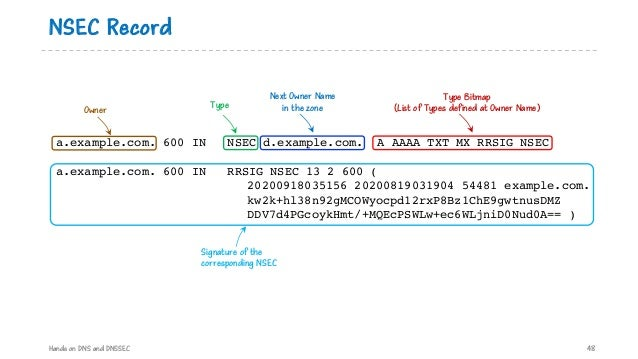 NSEC Record Hands on DNS and DNSSEC 48 a.example.com. 600 IN NSEC d.example.com. A AAAA TXT MX RRSIG NSEC a.example.com. 6...