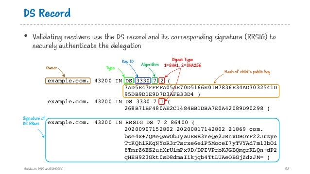 DS Record • Validating resolvers use the DS record and its corresponding signature (RRSIG) to securely authenticate the de...