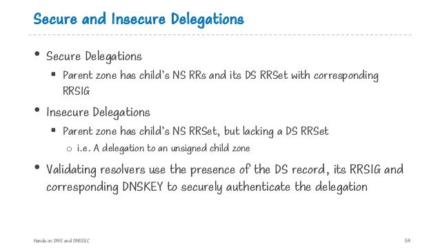 Secure and Insecure Delegations • Secure Delegations § Parent zone has child's NS RRs and its DS RRSet with corresponding ...