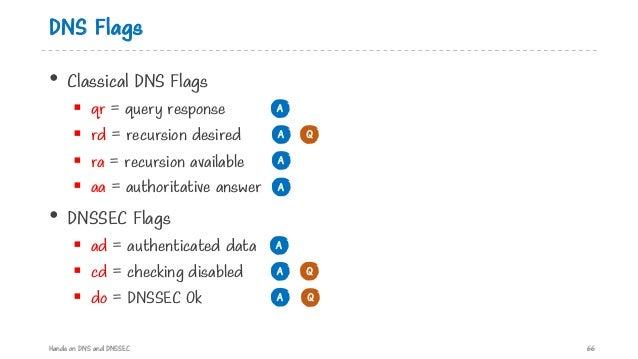 DNS Flags • Classical DNS Flags § qr = query response § rd = recursion desired § ra = recursion available § aa = authorita...