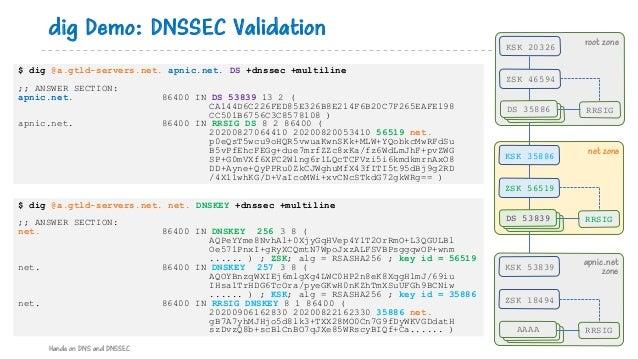$ dig @a.gtld-servers.net. apnic.net. DS +dnssec +multiline ;; ANSWER SECTION: apnic.net. 86400 IN DS 53839 13 2 ( CA144D6...
