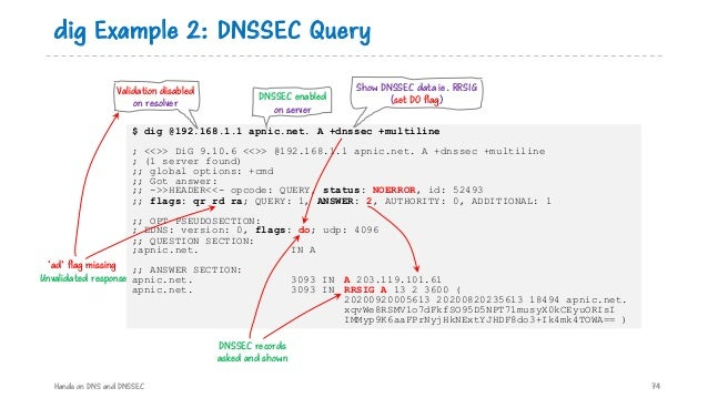 dig Example 2: DNSSEC Query Hands on DNS and DNSSEC 74 $ dig @192.168.1.1 apnic.net. A +dnssec +multiline ; <<>> DiG 9.10....