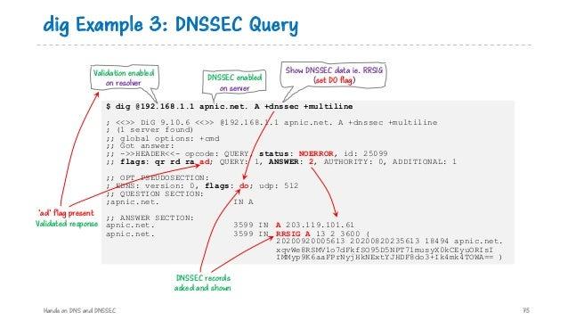 $ dig @192.168.1.1 apnic.net. A +dnssec +multiline ; <<>> DiG 9.10.6 <<>> @192.168.1.1 apnic.net. A +dnssec +multiline ; (...
