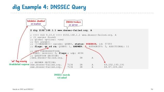 $ dig @192.168.1.1 www.dnssec-failed.org. A ; <<>> DiG 9.10.6 <<>> @192.168.1.1 www.dnssec-failed.org. A ; (1 server found...