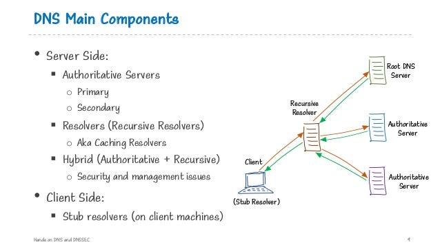 DNS Main Components • Server Side: § Authoritative Servers o Primary o Secondary § Resolvers (Recursive Resolvers) o Aka C...