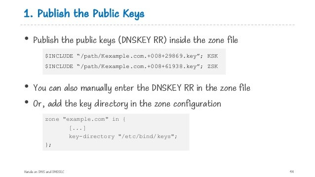1. Publish the Public Keys • Publish the public keys (DNSKEY RR) inside the zone file • You can also manually enter the DN...