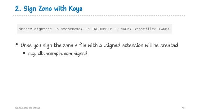 2. Sign Zone with Keys • Once you sign the zone a file with a .signed extension will be created § e.g. db.example.com.sign...