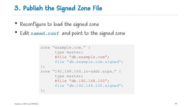 3. Publish the Signed Zone File • Reconfigure to load the signed zone • Edit named.conf and point to the signed zone Hands...