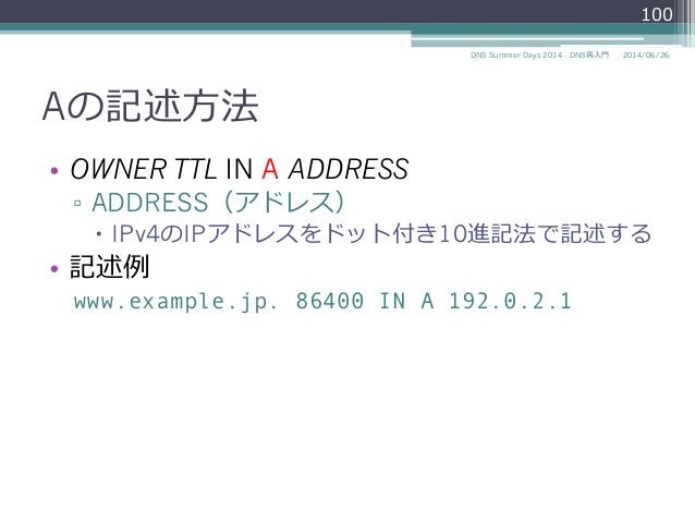 Aの記述⽅方法 • OWNER TTL IN A ADDRESS ▫ ADDRESS(アドレス) – IPv4のIPアドレスをドット付き10進記法で記述する • 記述例例 www.example.jp. 86400 IN A 192....