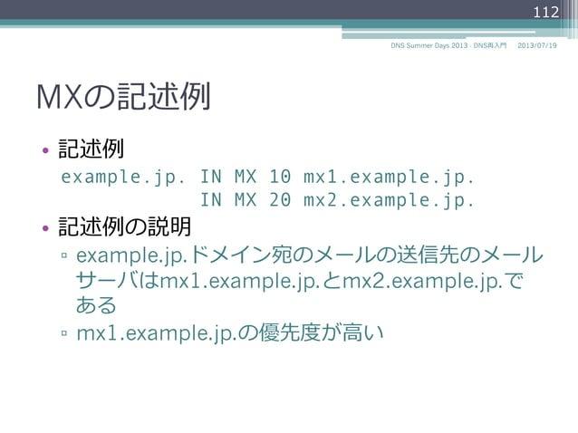 MXの記述例例 • 記述例例 example.jp. IN MX 10 mx1.example.jp. IN MX 20 mx2.example.jp. • 記述例例の説明 ▫ example.jp.ドメイン宛のメールの送信先のメール サ...