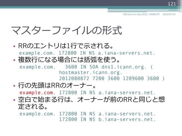マスターファイルの形式 • RRのエントリは1⾏行行で⽰示される。 example.com. 172800 IN NS a.iana-servers.net. • 複数⾏行行になる場合には括弧を使う。 example.com. 3600 I...