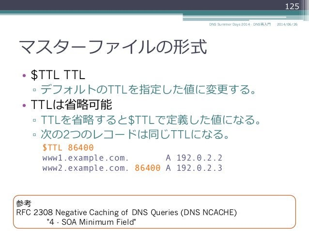 マスターファイルの形式 • $TTL TTL ▫ デフォルトのTTLを指定した値に変更更する。 • TTLは省省略略可能 ▫ TTLを省省略略すると$TTLで定義した値になる。 ▫ 次の2つのレコードは同じTTLになる。 $TTL 8...