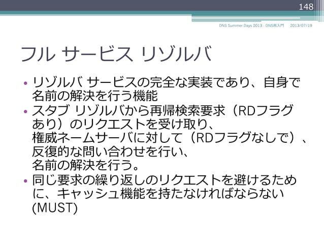 スタブ リゾルバ スタブ リゾルバ (クライアント) フルサービス リゾルバ (キャッシュ ネームサーバ) 権威ネームサーバ www.example.jpの IPアドレスを教えて? www.example.jpの IPアドレスは192....