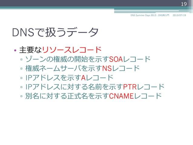 DNSで扱うデータ • 主要なリソースレコード ▫ ゾーンの権威の開始を⽰示すSOAレコード ▫ 権威ネームサーバを⽰示すNSレコード ▫ IPv4アドレスを⽰示すAレコード ▫ IPv6アドレスを⽰示すAAAAレコード ▫ IPア...