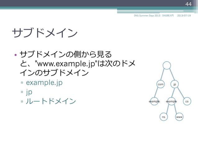 """サブドメイン • あるドメインに所属しているドメ インをサブドメインと呼ぶ • ルートドメインのサブドメイン ▫ com ▫ jp • """"jp""""ドメインのサブドメイン ▫ co.jp ▫ example.jp ▫ www.exa..."""