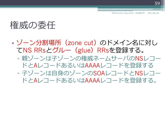 権威の委任 • ゾーン分割場所(zone cut)のドメイン名に対し てNS RRsとグルー(glue)RRsを登録する。 ▫ 親ゾーンは⼦子ゾーンの権威ネームサーバのNSレコー ドとAレコードあるいはAAAAレコードを登録する ▫ ⼦子...