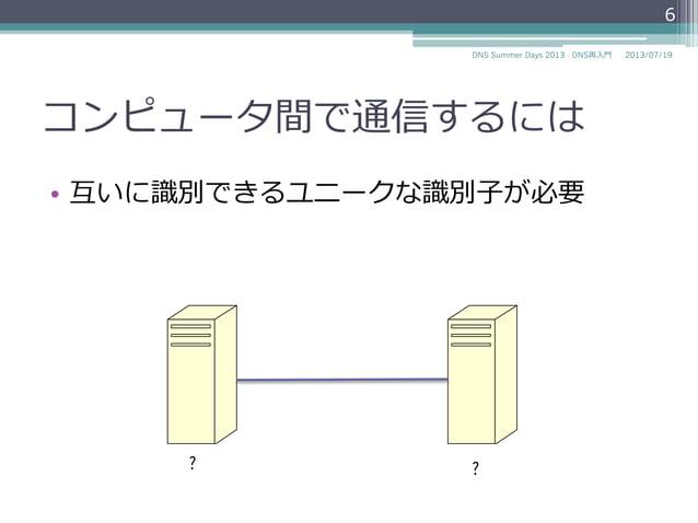 コンピュータ間で通信するには • 互いに識識別できるユニークな識識別⼦子が必要 ? ? 6 2014/06/26DNS Summer Days 2014 - DNS再⼊入⾨門