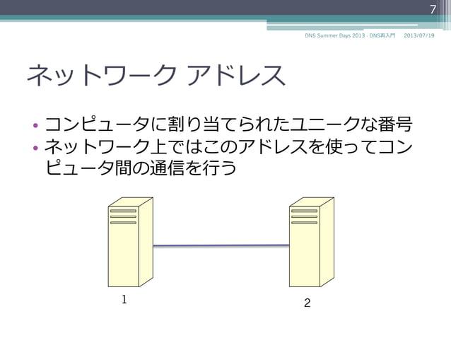 ネットワーク アドレス • コンピュータに割り当てられたユニークな番号 • ネットワーク上ではこのアドレスを使ってコン ピュータ間の通信を⾏行行う 1 4 7 2014/06/26DNS Summer Days 2014 - DNS再⼊入...