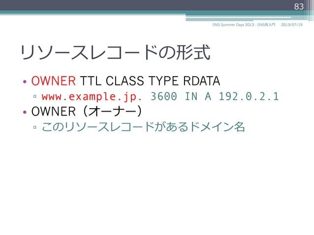 ORNER(オーナー) • OWNER TTL CLASS TYPE RDATA ▫ www.example.jp. 3600 IN A 192.0.2.1 • 説明 ▫ このリソースレコードがある ドメイン名 83 2014/06/2...